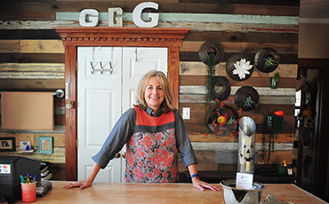 Pam Wheeler of Genevieves in her shop